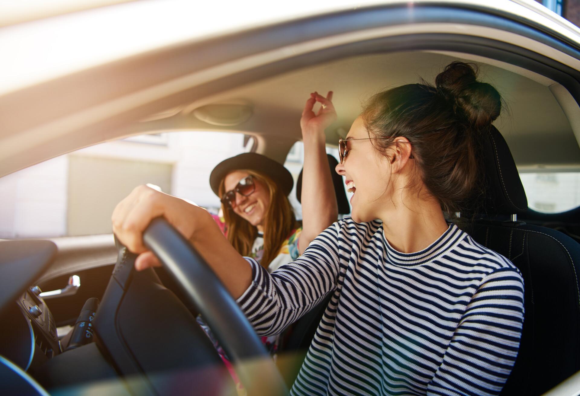 Friends having fun during a road trip.