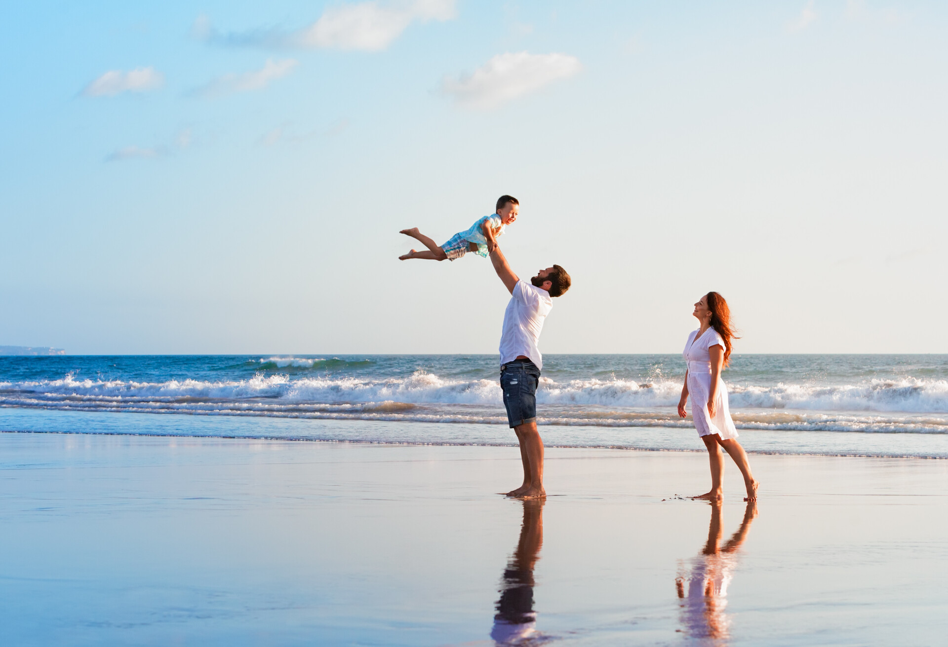 A young family enjoying their holidays on an island.