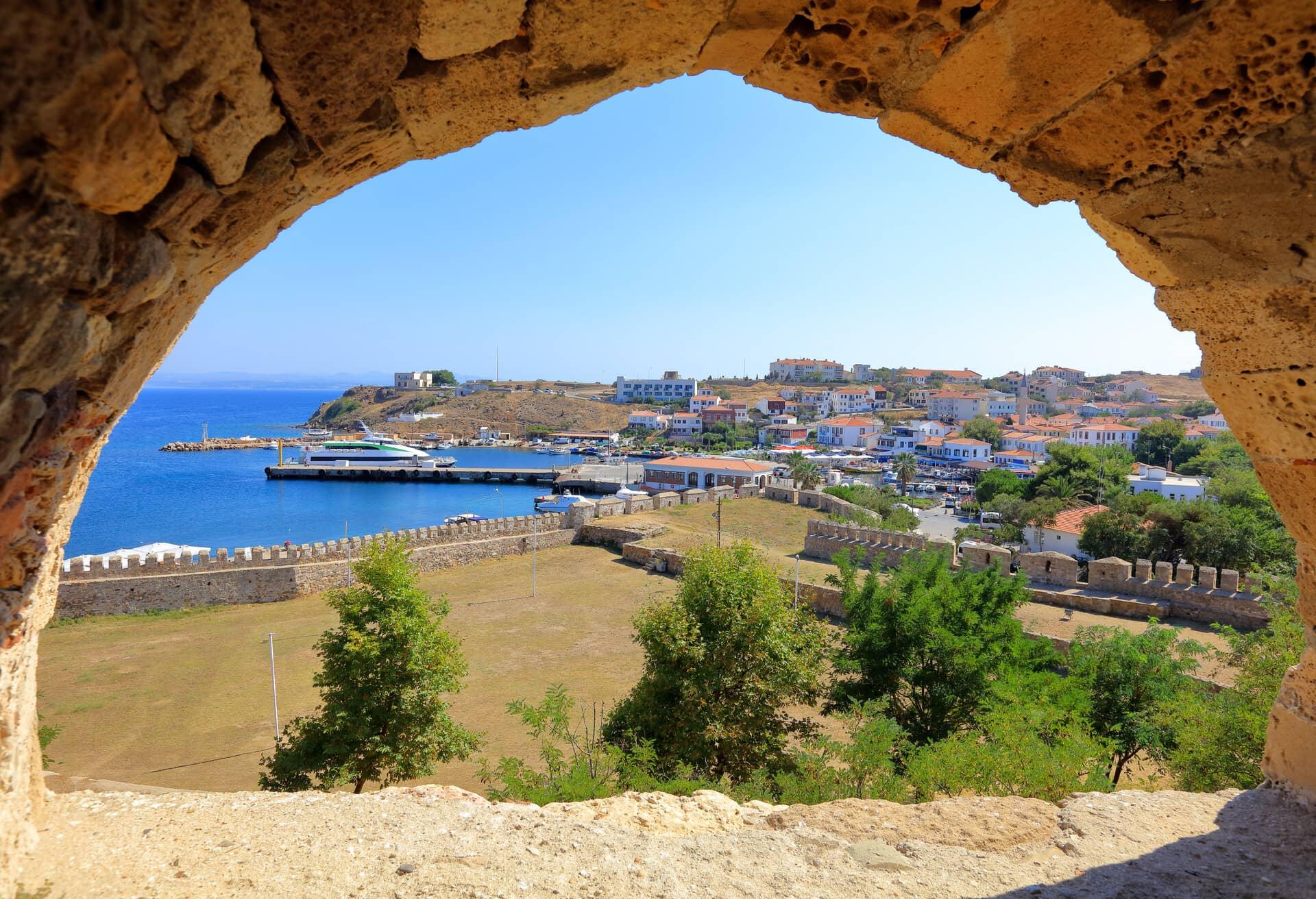 A view from Tenedo castle on Bozcaasa island, Turkey.