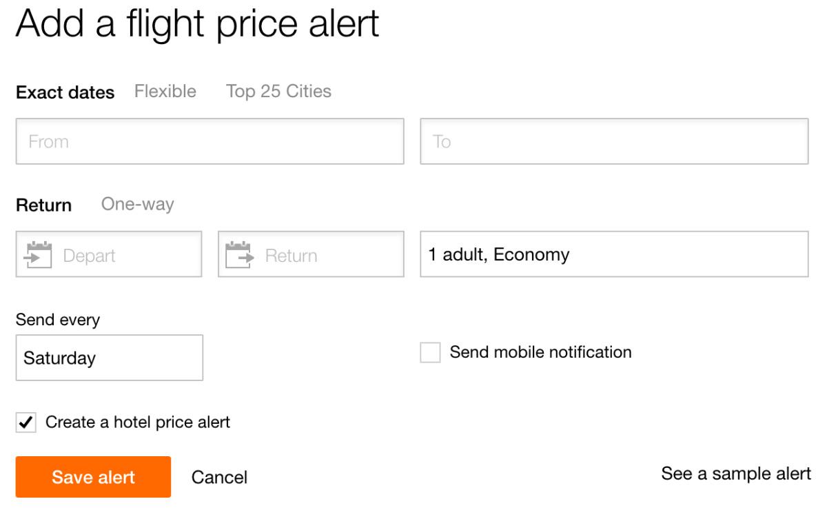 KAYAK Price Alert Exact Dates