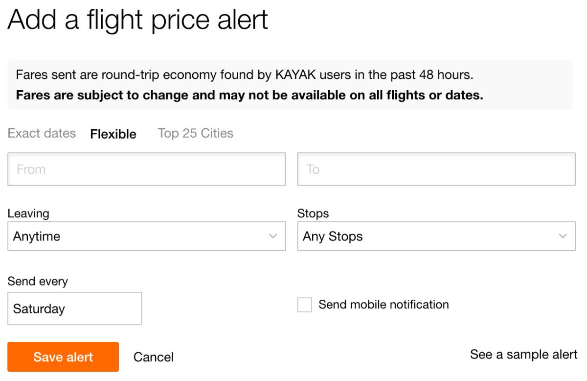 KAYAK Price Alert Flexible Dates
