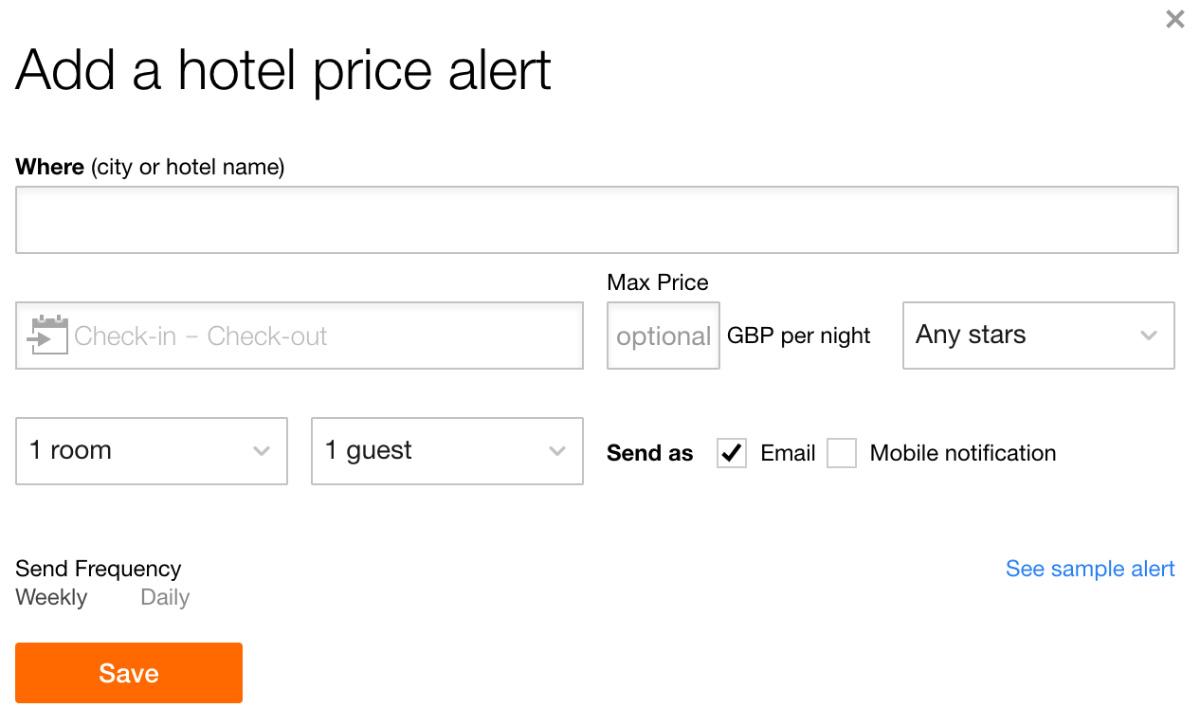 KAYAK Price Alert Hotel