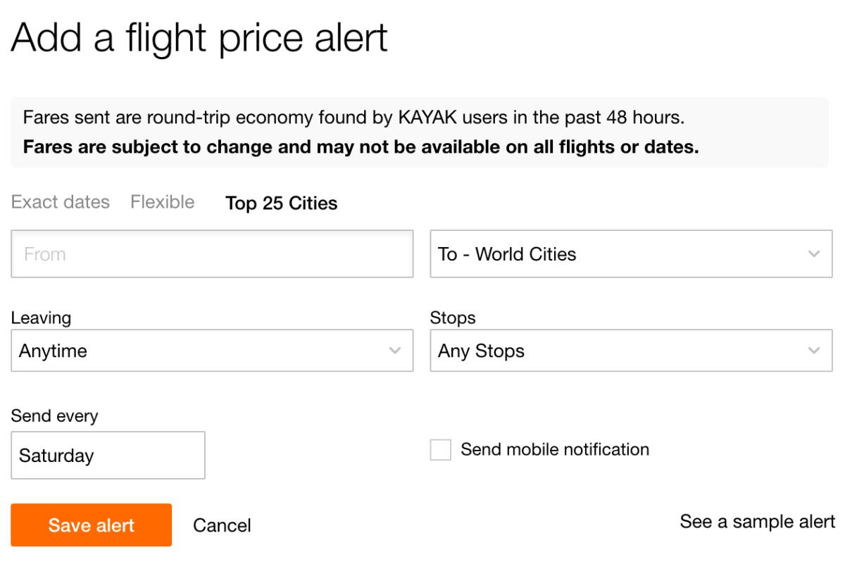 KAYAK Price Alert Top Cities