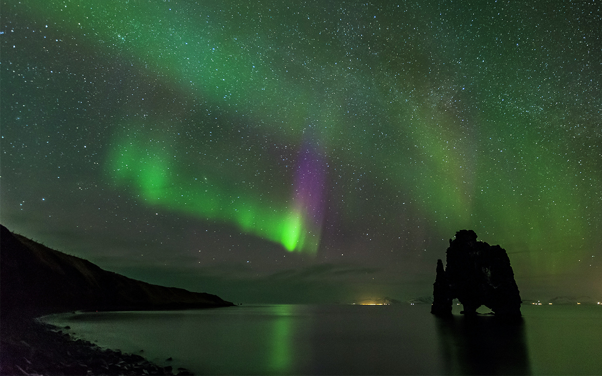 Hvitsekur rock under the northern lights is one of the most amazing sights on earth
