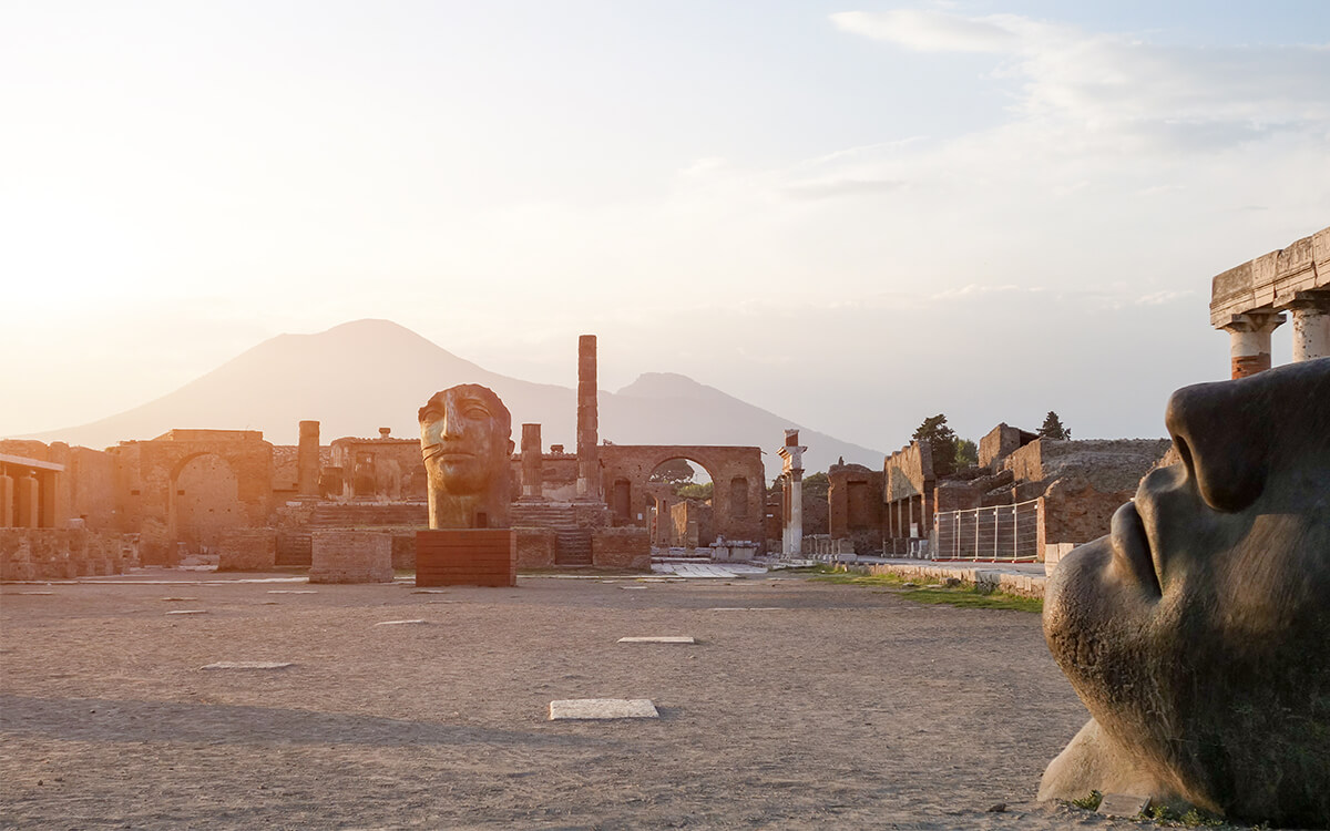 See a civilization preserved in stone in Pompeii, Italy.