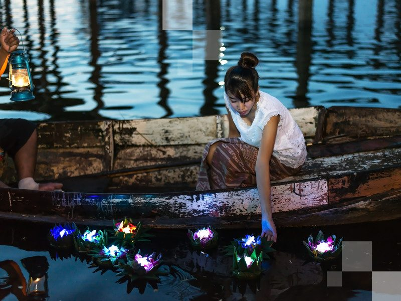Watch Bangkok's waterways light up with floating candles